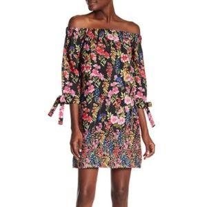 Vince Camuto Floral Print Off the Shoulder Dress